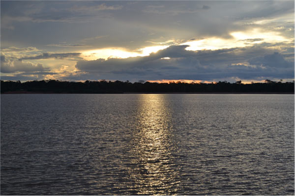 Jirau reservoir. Tropical reservoirs like this one may soon replace many of Amazonia's free-flowing rivers, with largely unknown environmental impacts. Photo credit: Philip Fearnside.
