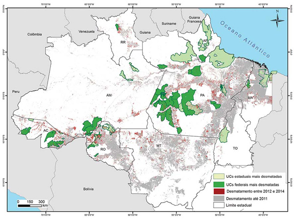 Imazon map showing deforestation in Amazonian conservation units