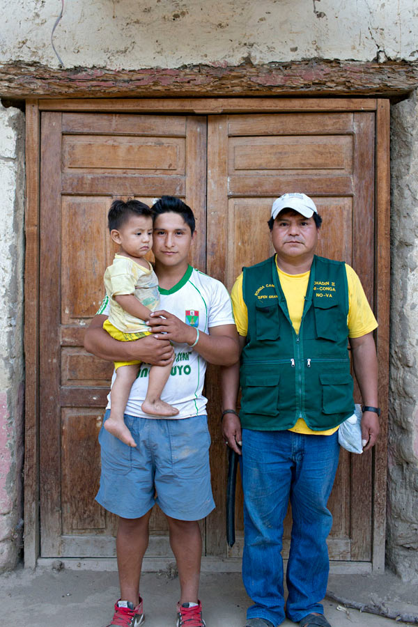 This is Alvaro Huaman, in the uniform of the ronda, with Jhuliño and his baby brother. Jhuliño's real name was Egler, but from a young age, he had been obsessed with Brazilian soccer, and so everyone had begun calling him after his favorite player. Before we went over big rapids, I would tease Jhuliño, asking him if he was scared. He'd laugh and say,