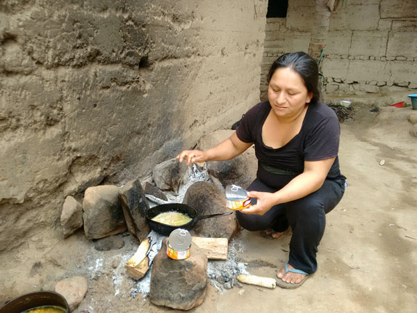Jhuliño's mother Inez Human, part of an extended family that spreads up and down the river valley. Here, in Tupen, she cooks food over the family cook fire. Except on special occasions, meals consist of rice and a small piece of chicken, egg, or canned tuna.  Photo Credit: Saul Elbein.