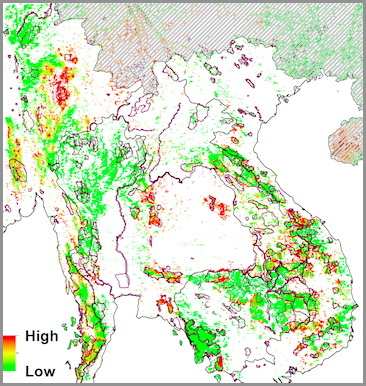 Predicted conversion risk to the remaining forests and Key Biodiversity Areas (KBAs). The KBAs are shown as purple polygons. China is greyed out as no further rubber expansion targets are known for this country -- From Ahrends et al, 2015