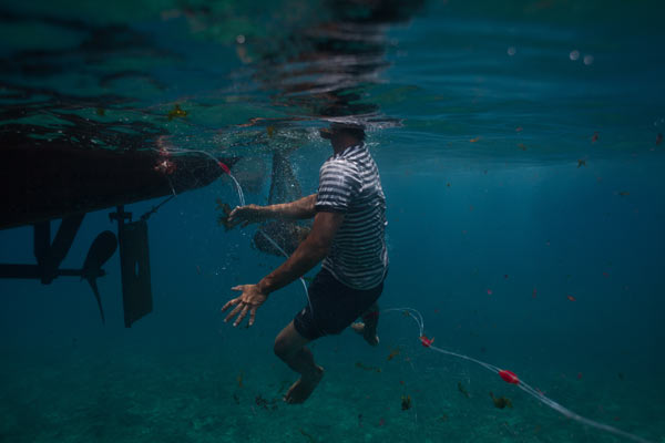 A young Vietnamese fisherman jumps into the water to untangle his net near Lý Sơn Island. Pressure from Chinese patrol boats has forced local fishermen to work closer to shore, devastating fish populations near the Vietnamese coast.