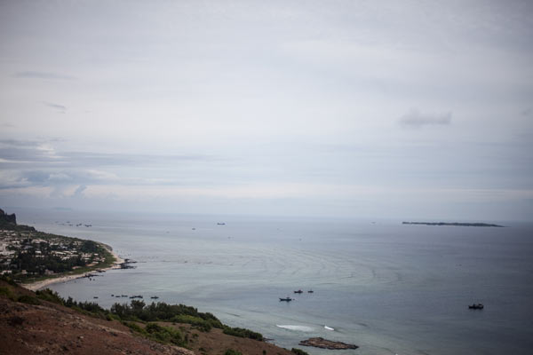 A long view out to sea from the coast of Lý Sơn, Vietnam.