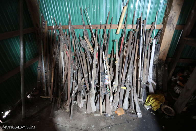Confiscated guns at a ranger station in Cambodia