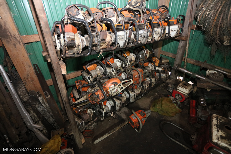 Confiscated chainsaws at a ranger station in Cambodia
