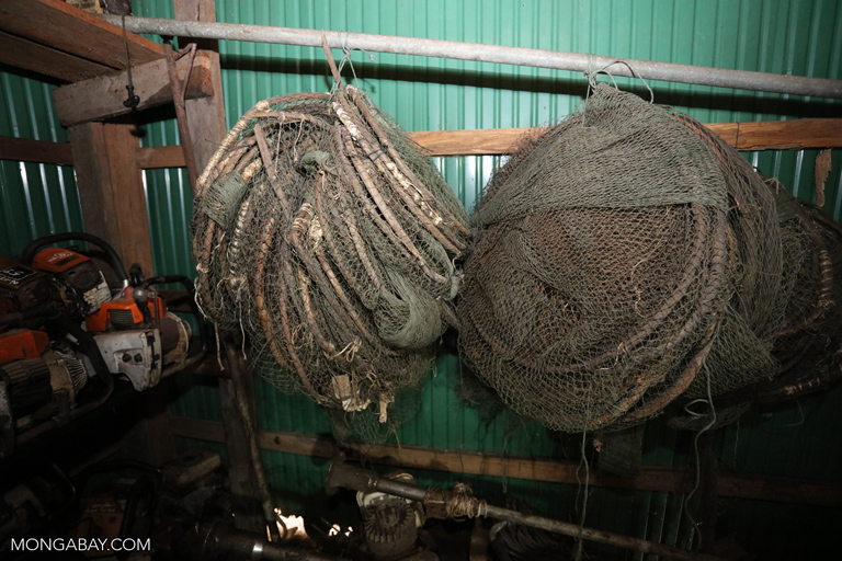 Confiscated snares at a ranger station in Cambodia