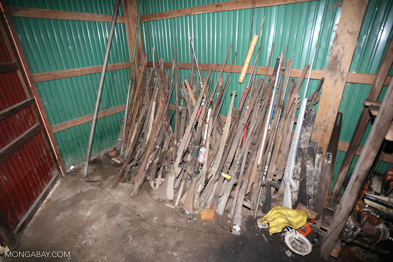 Confiscated guns, snares, and chainsaws