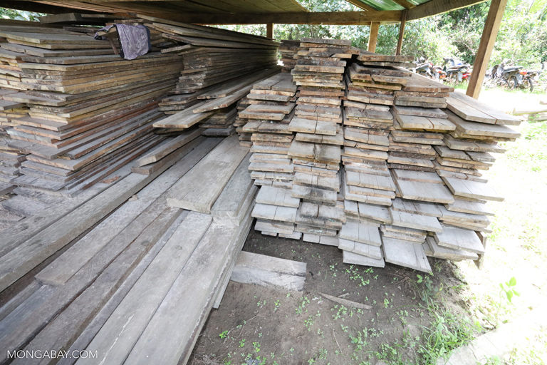 Confiscated timber at a ranger station in Cambodia