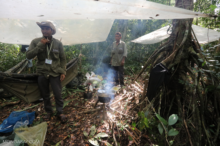 Wildlife rangers at a jungle camp in Cambodia