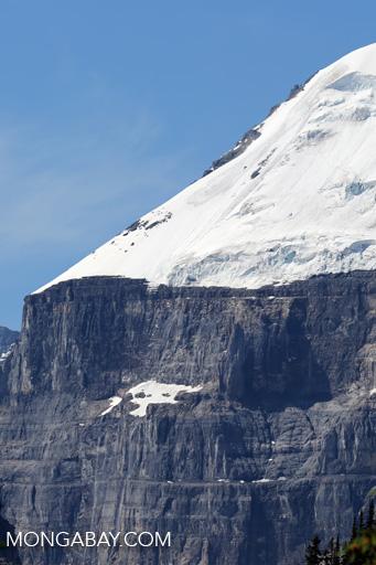 Mountain peak and glaciers near Lake Louise