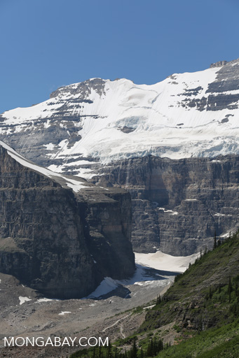 Mountain peak and glaciers near Lake Louise