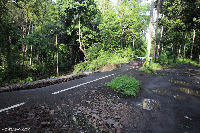 Collapsed road in North Sulawesi