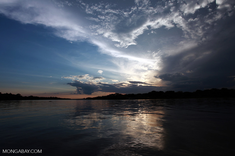Sunset over the Cuiaba river in the Pantanal