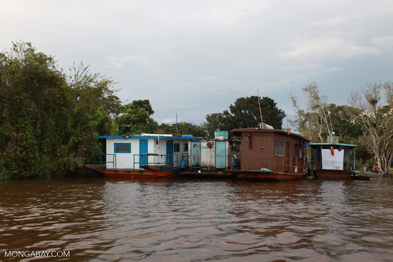 Fishing vessels or houseboats on the Cuiaba river