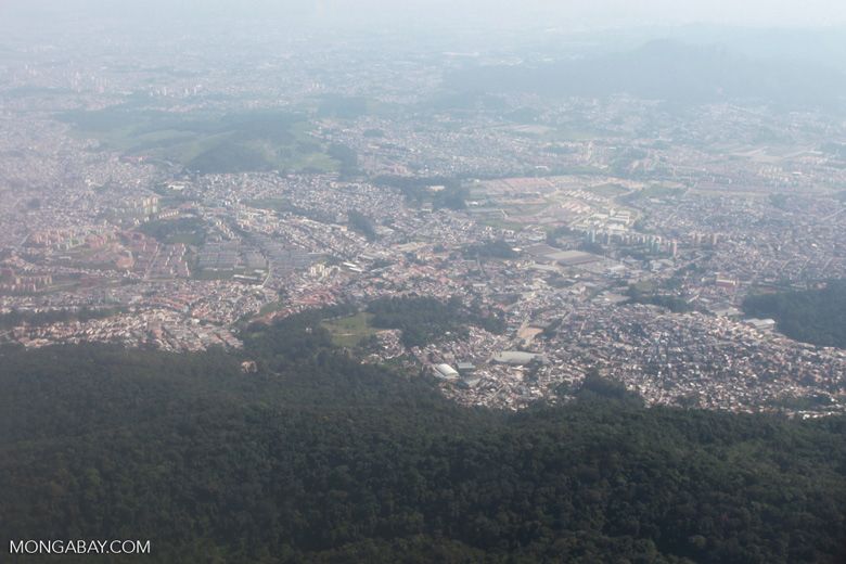 Aerial picture of favelas of Sao Paulo
