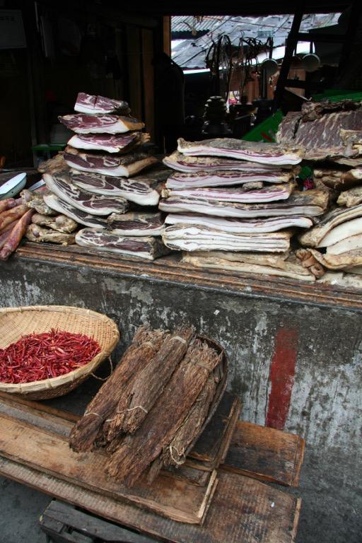 Stacks of dried meat in meat market in Dechen