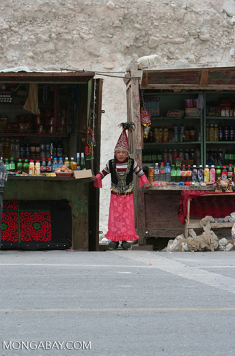 Girl working at a stand near a passport checkpoint on the Karakoram highway