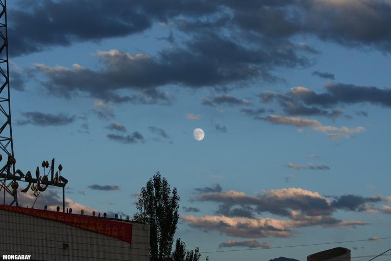 Moon at sunset above Tashkorgan