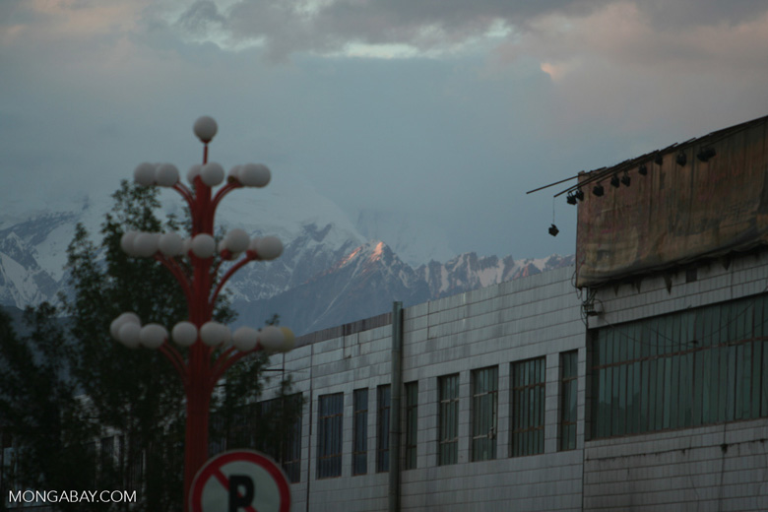 Sun glinting off a snowy peak above Tashkurgan