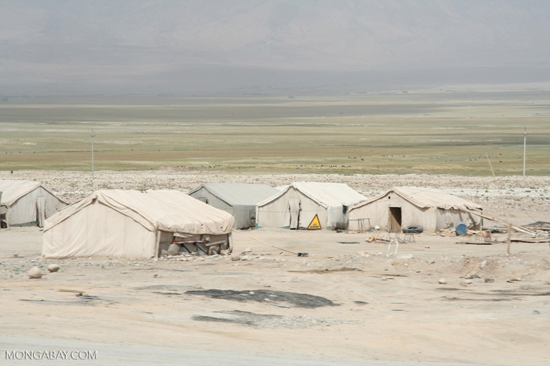 Tented worker camp in western China