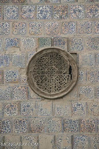 Tiles on a tomb at the Tomb of Yarkand Kings in Yarkand