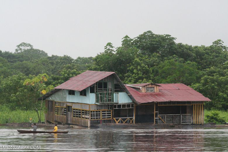 Marooned floating house in the Amazon