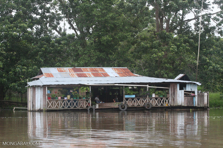 Floating house along the Amazon river