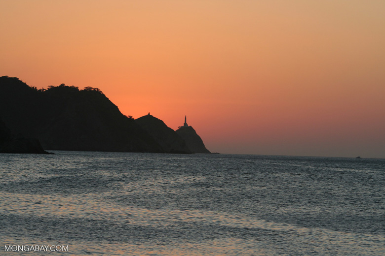 Taganga lighthouse at sunset