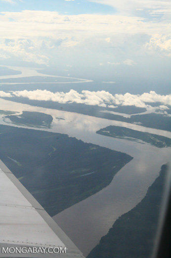 Aerial view of the Amazon river as it forms the border between Colombia and Peru