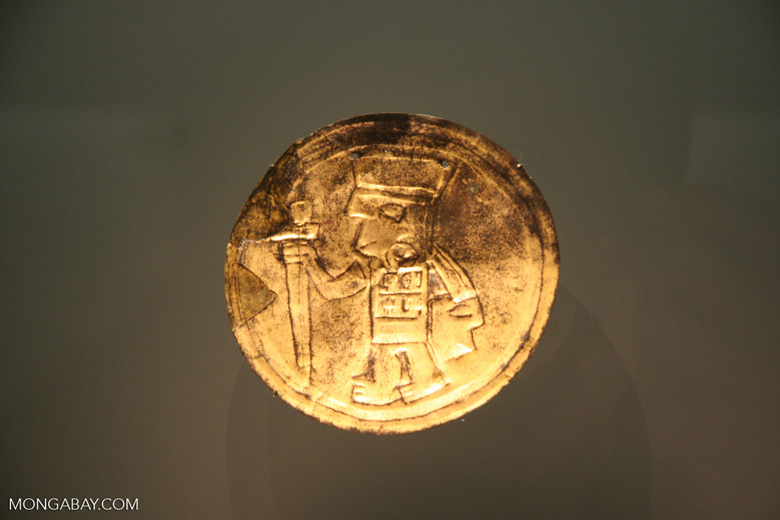 Gold coin with a warrior engraving