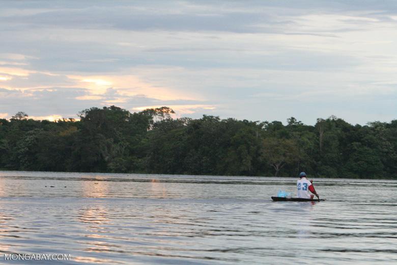 Sunset over the Amazon near Puerto Nariño