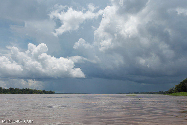 Thunderclouds over the Amazon River