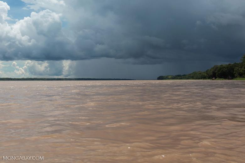 Rain showers over the Amazon River