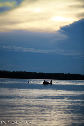 Boat on the Amazon River at sunset [colombia_1187]
