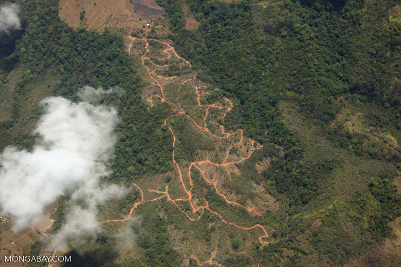 Aerial view of new land clearing in Costa Rica