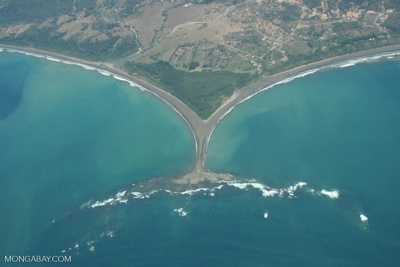 Aerial view of 't-shaped' land formation on Costa Rica's Pacific coastline
