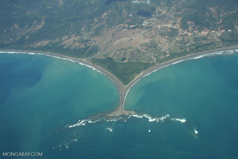 Aerial view of 't-shaped' land formation on Costa Rica's Pacific coastline [costa-rica-d_0225]