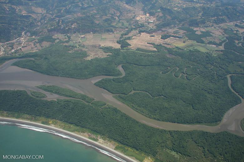 Aerial view of an estuary along Costa Rica's Pacific coastline [costa-rica-d_0233]