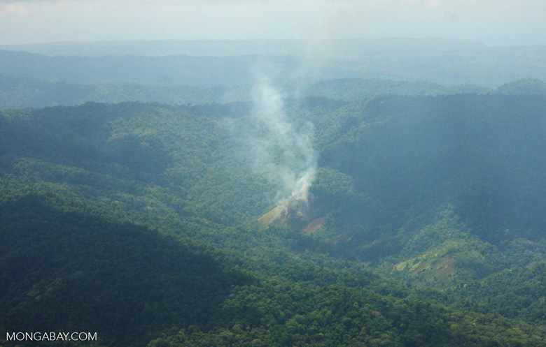 Aerial view of agricultural fire near Corcovado