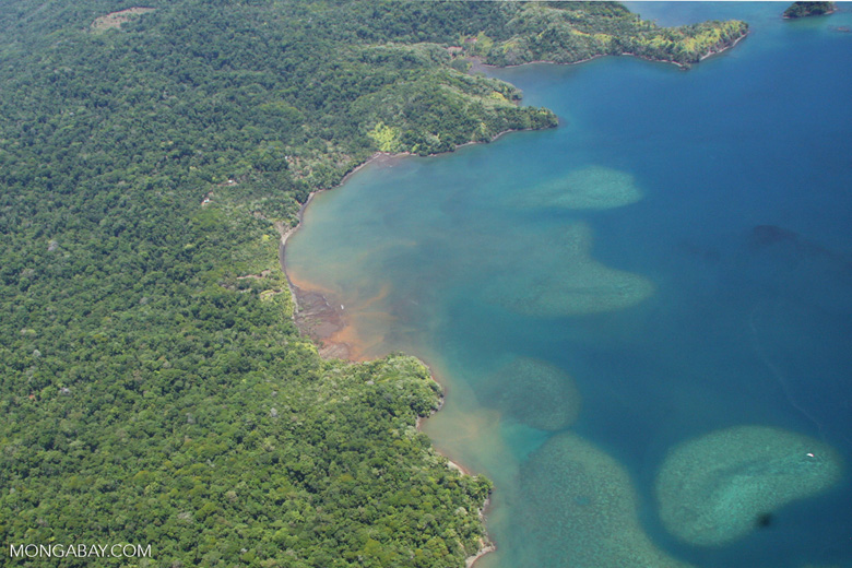 Aerial view of coastal forest and coral reefs in Costa Rica [costa-rica-d_0295]