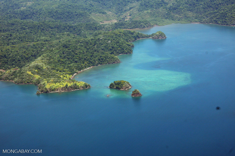 Aerial view of forests and islands of Golfo Dulce