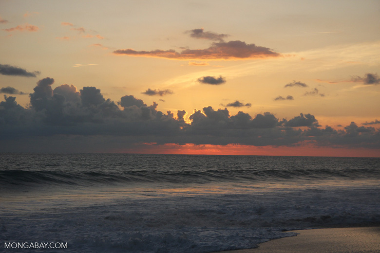 Waves breaking on an Osa Peninsula beach at sunset