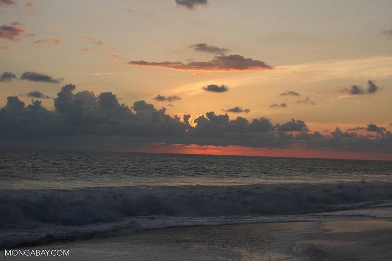 Waves breaking on an Osa Peninsula beach at sunset [costa-rica-d_0506]
