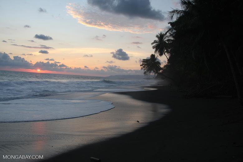 Waves breaking on an Osa Peninsula beach at sunset [costa-rica-d_0509]