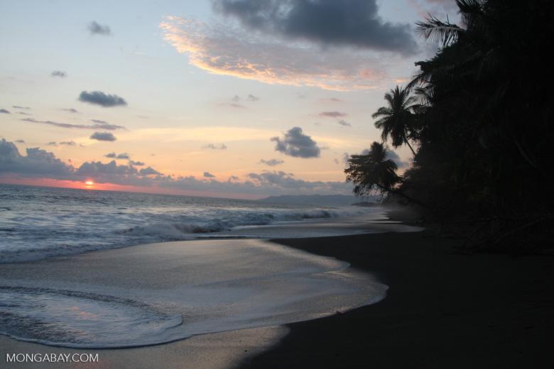 Waves breaking on an Osa Peninsula beach at sunset [costa-rica-d_0510]