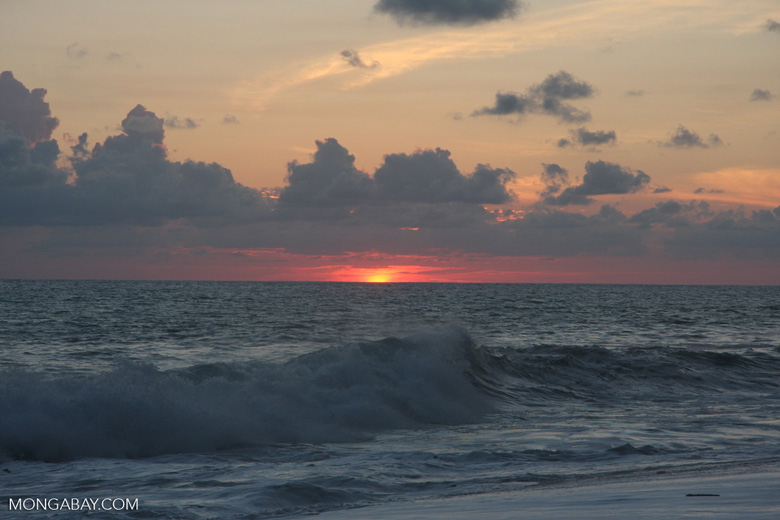 Waves breaking on an Osa Peninsula beach at sunset [costa-rica-d_0519]