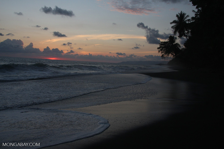 Waves breaking on an Osa Peninsula beach at sunset [costa-rica-d_0522]