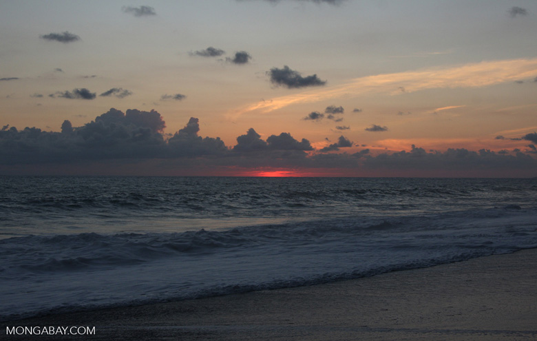 Waves breaking on an Osa Peninsula beach at sunset [costa-rica-d_0523a]