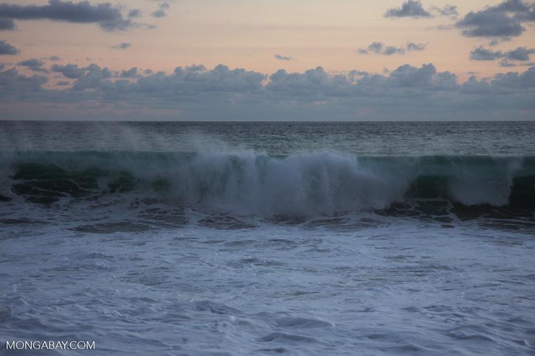 Waves breaking on an Osa Peninsula beach at sunset [costa-rica-d_0534]