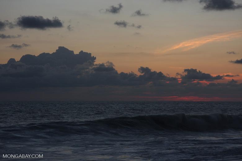 Waves breaking on an Osa Peninsula beach at sunset [costa-rica-d_0536]